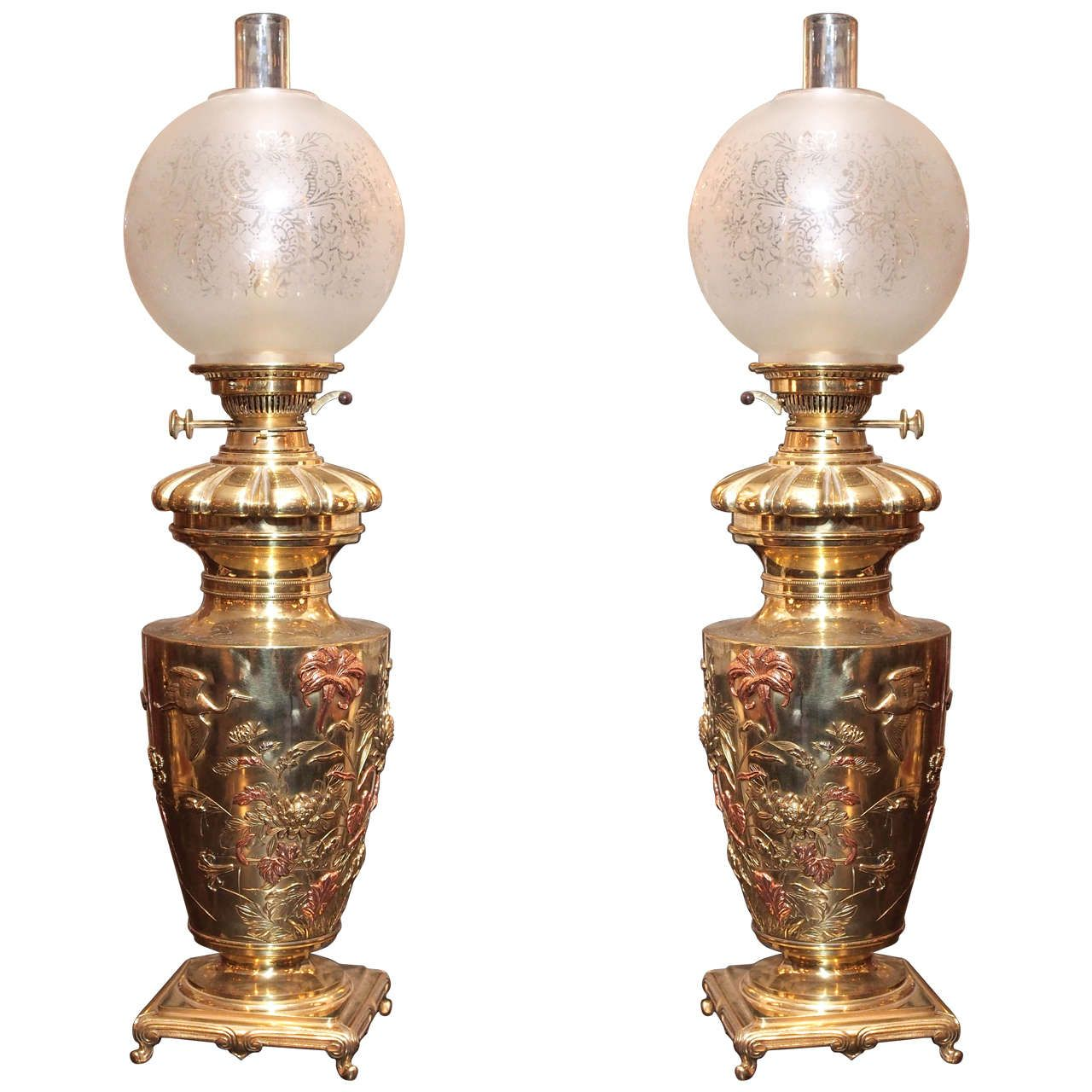 Pair of antique french mixed metal brass chinoiserie oil lamps oil pair of antique french mixed metal brass chinoiserie oil lamps 1stdibs arubaitofo Choice Image