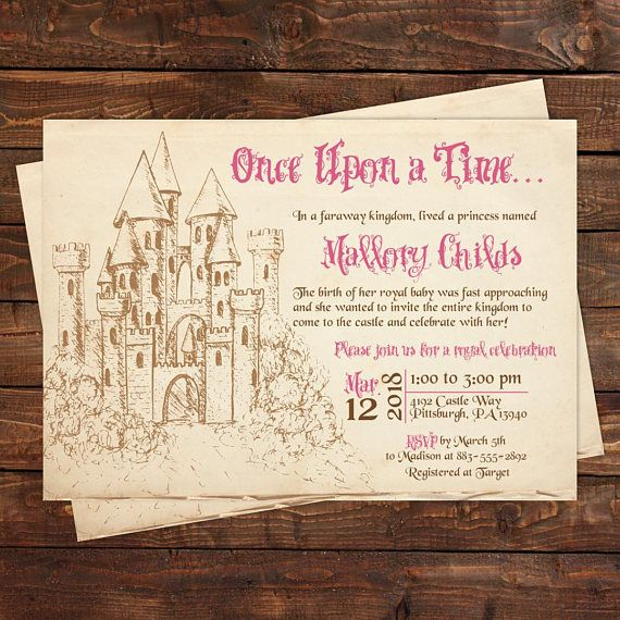 Once Upon A Time Princess Birthday Invitation Fairytale Baby Shower