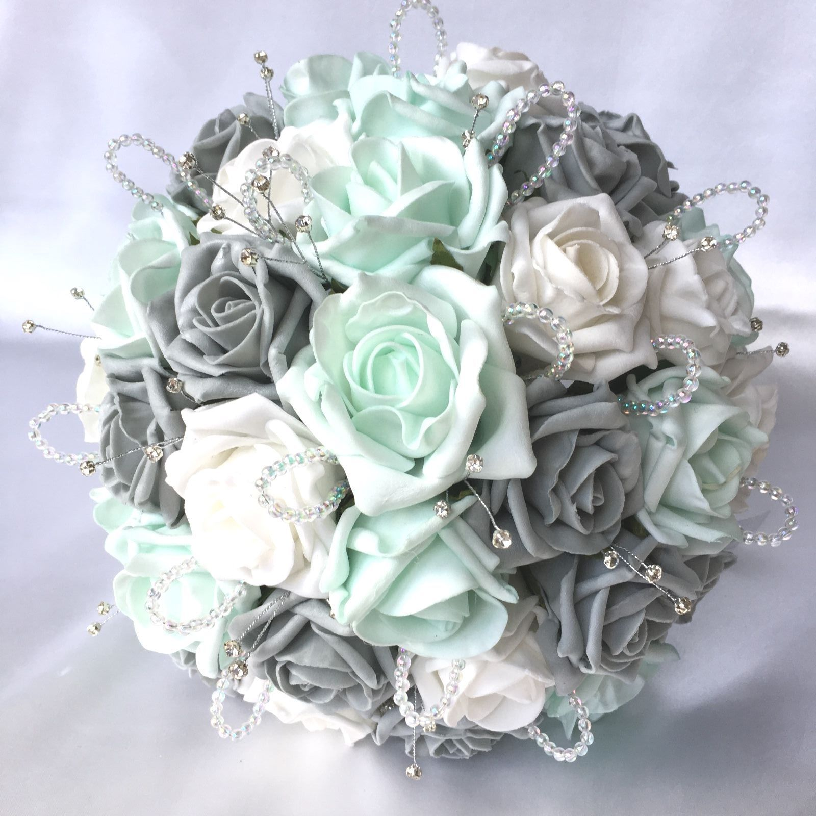Brides posy, mint, grey & white roses, diamantes & crystals ...