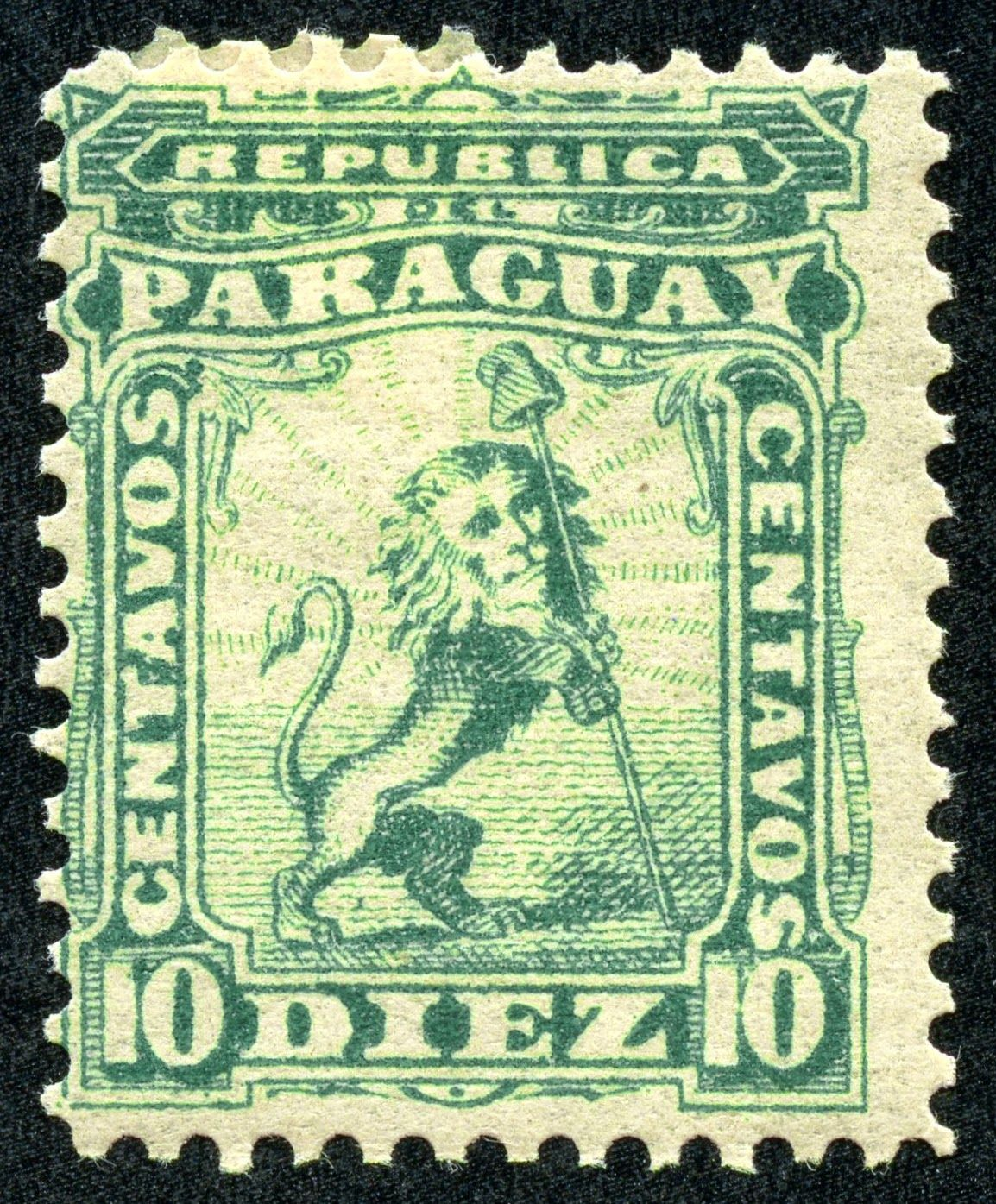"1879 Scott 10 5r orange  ""Vigilant Lion Supporting Liberty Cap"" Quick History Landlocked Paraguay is a central South American country..."
