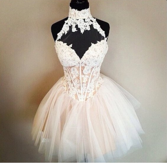 Charming Lovely High Neck Lace A Line Homecoming Dress Short Prom