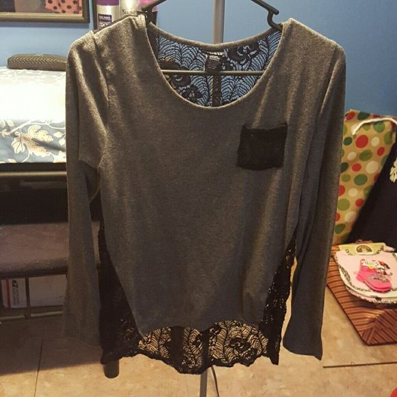 Gray and black Rue21 top with lace back Gray and black Rue 21 top with black lace back. NWOT. Rue 21 Tops Blouses