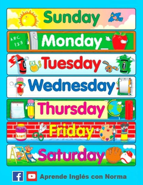 Aprende los d as de la semana en ingl s vocabulario en ingl s pinterest teacher - Aprender ingles en un mes ...