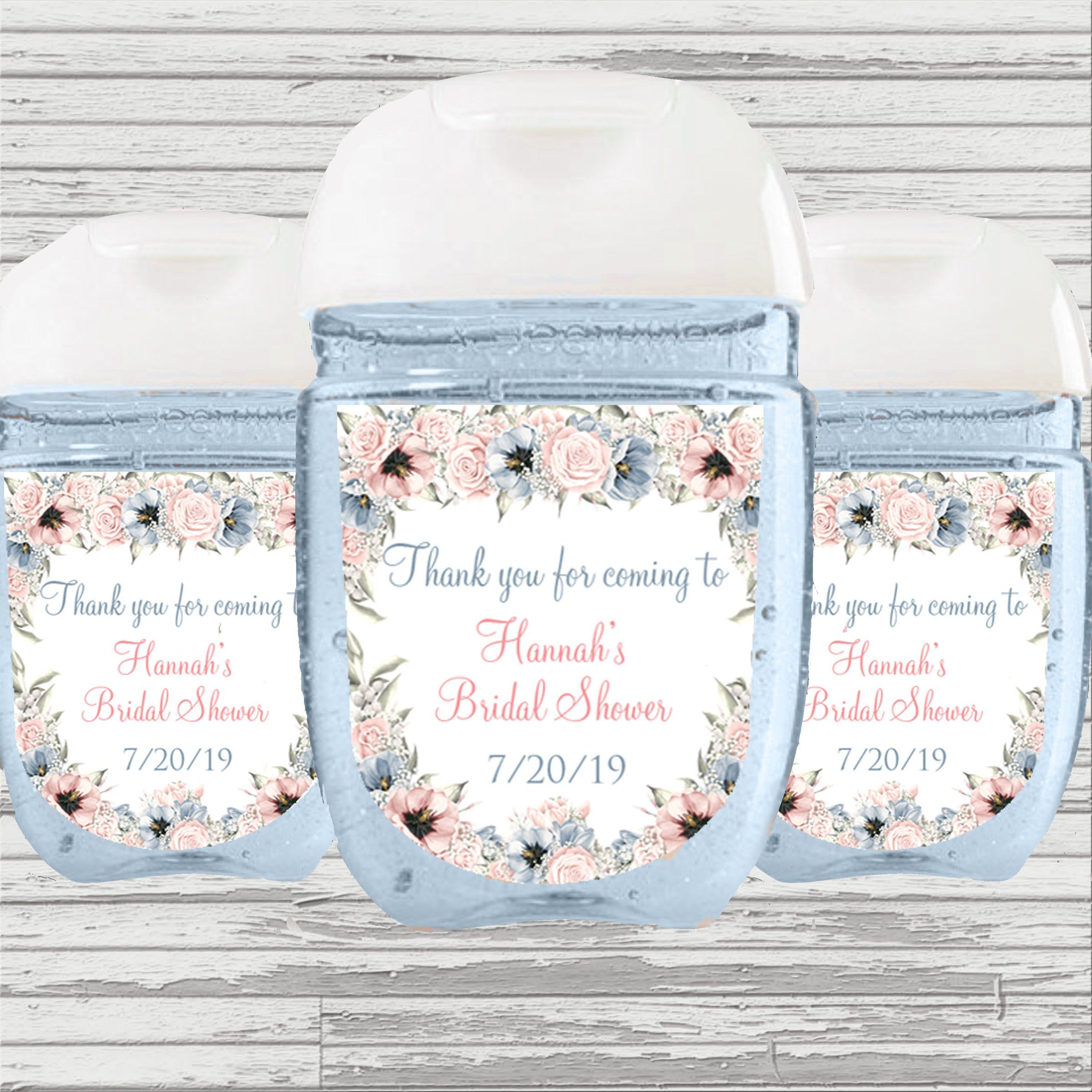 Blush And Blue Theme Bridal Baby Shower Favor Hand Sanitizer