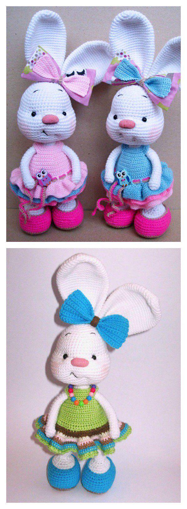 Free Amigurumi Bunny Crochet Patterns | Das kleid, Häkelarbeiten und ...