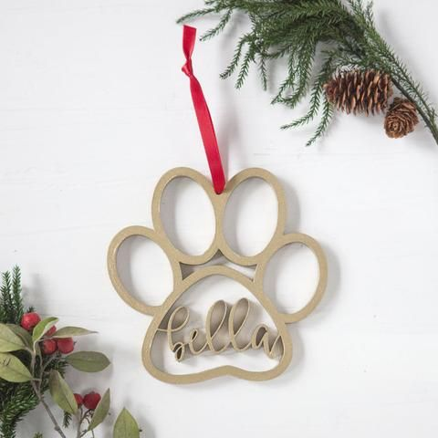 Wooden MDF Pet Paw Shape Bauble Christmas Craft Decoration Dog Bauble Gift