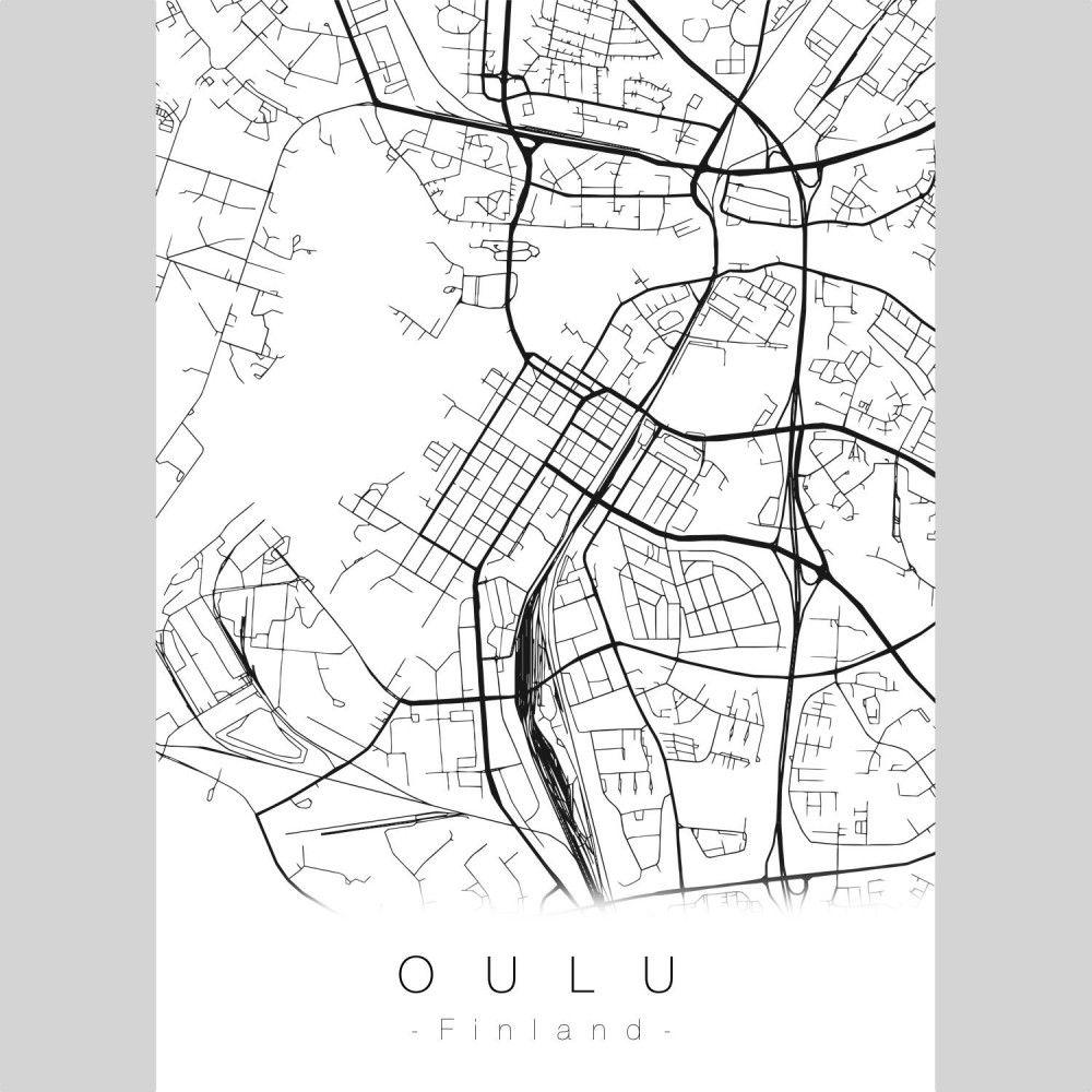 Oulu Map Juliste With Images Juliste Taulu