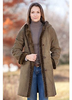 Women's Marilu Hooded Shearling Sheepskin Coat with Mink Fur Trim ...