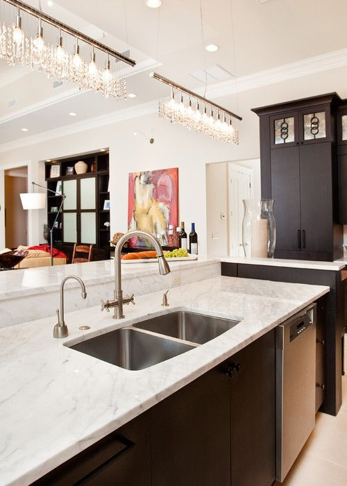 Fantastic Use Of Our Linear Strand Crystal Chandelier Over A Kitchen - Crystal chandelier in kitchen