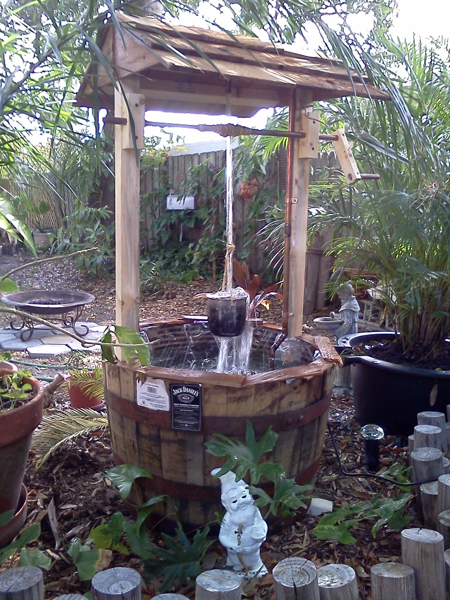 Wishing well lawn ornament - Jack Daniel S Distillery Barrel Wishing Well Fountain