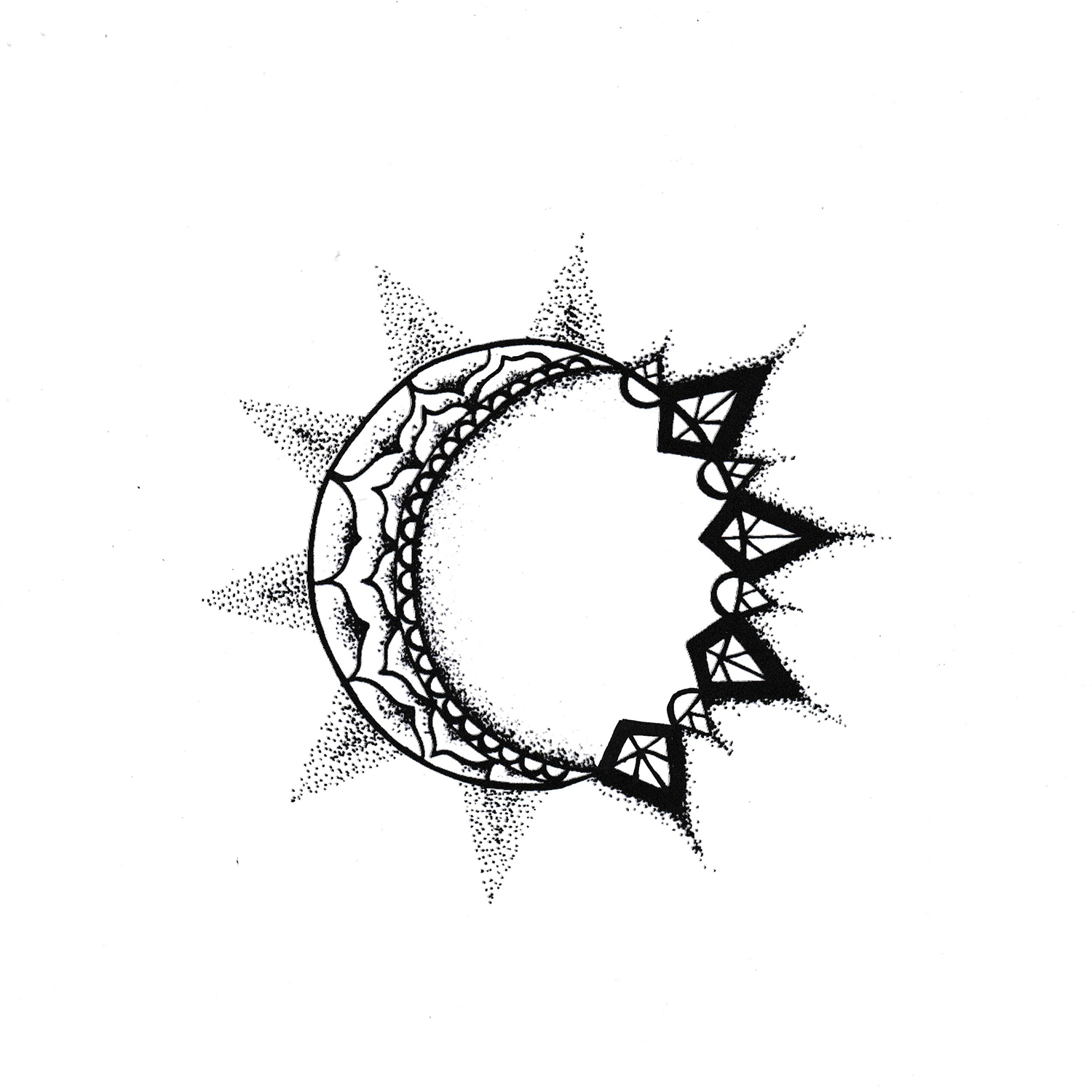 Sun and Moon Tattoo by horseridertirsola on DeviantArt  |Sun And Moon Design Drawing