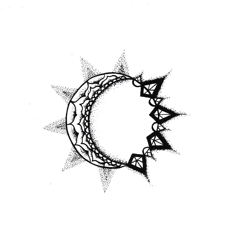 Sunmoon Star tattoos, Tattoo designs, Moon sun tattoo