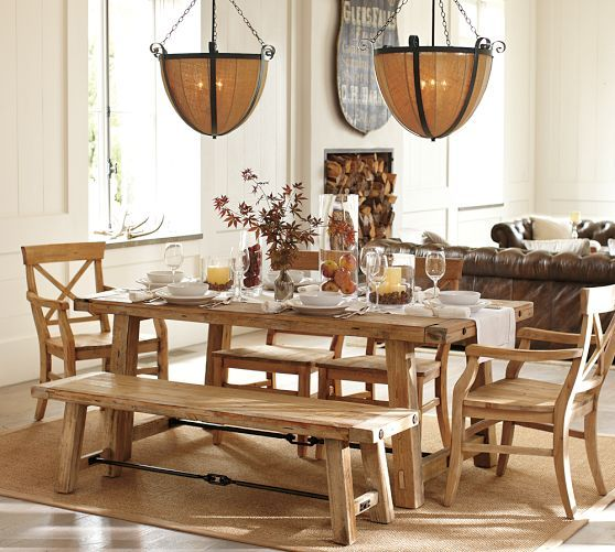 Benchwright Reclaimed Wood Fixed Dining Table - Wax Pine finish ...