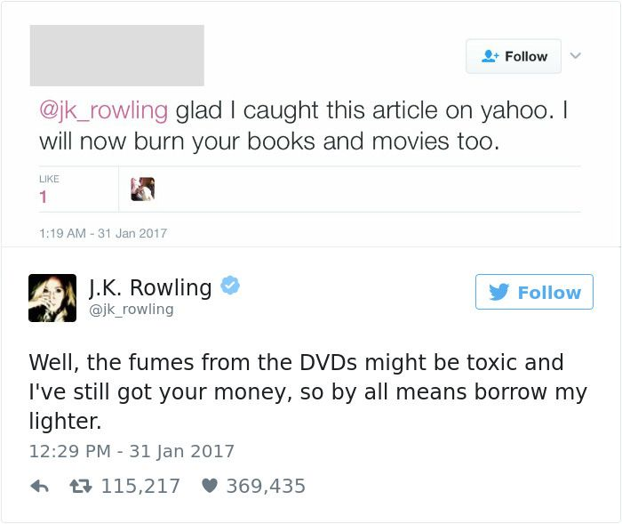 Hilarious Twitter Comebacks From J K Rowling Showing How Things Are Done Harry Potter Funny Harry Potter Universal Rowling