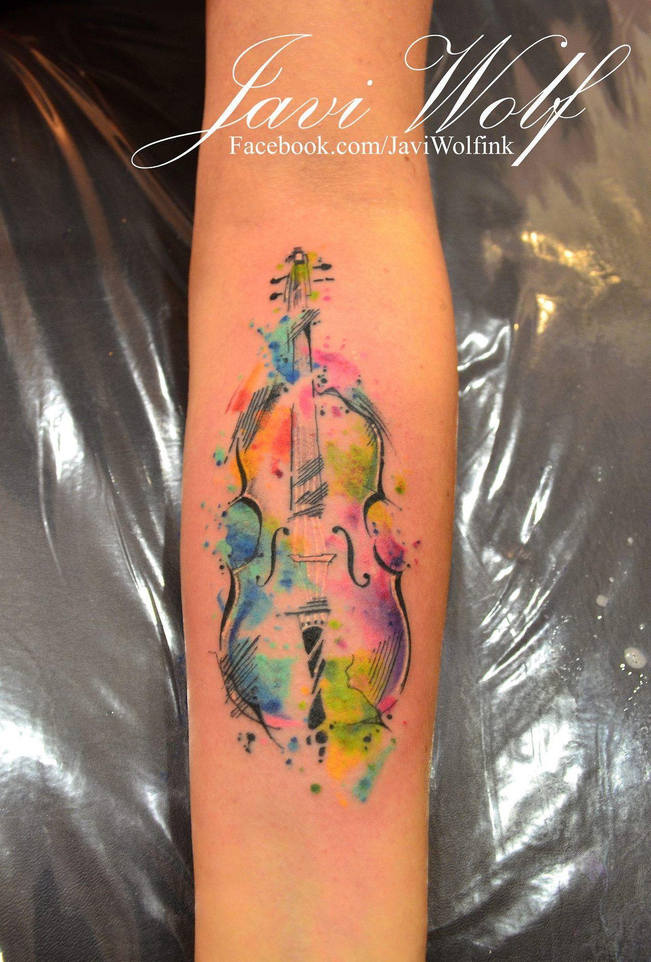 Watercolor Cello Tattooed By Javiwolfink Cello Tattoo Violin