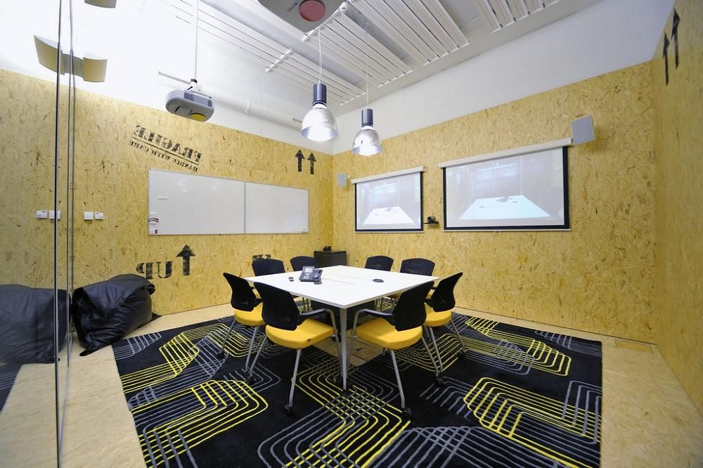 office meeting space design ideas with wall marble and black carpet ...