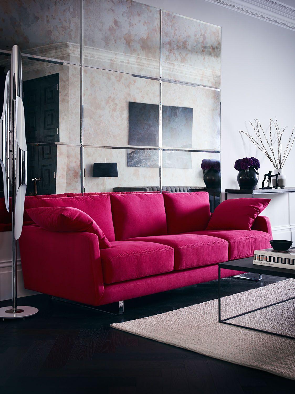 Dixon large in plush cotton berry brightinteriors pink colourblock interiordesign livingroom