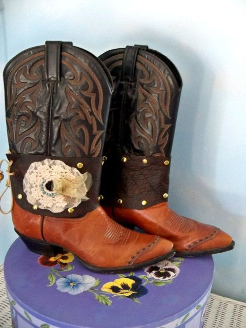 Brown Leather Boot Decoration Boho Chic by CalCoastCreations