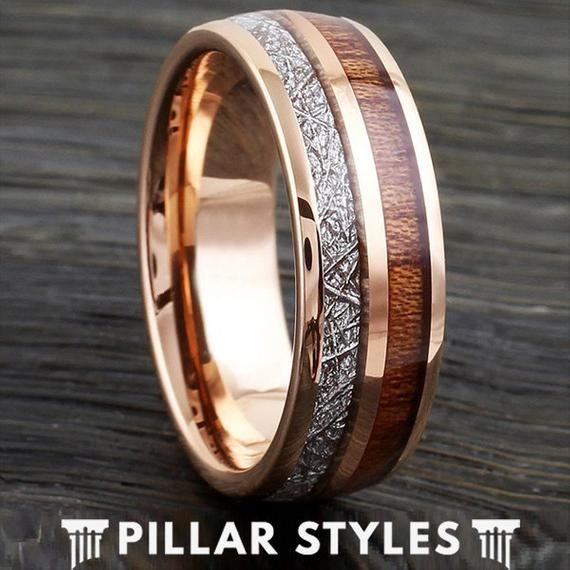 18k Rose Gold Ring 8mm Tungsten Meteorite Ring Rare Koa Wood Ring Mens Wedding Rings Mens Wedding Bands Mens Wood Wedding Bands Gold Tungsten Wedding Bands