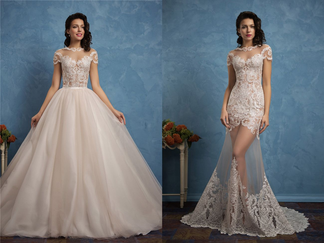 Unique Ball Gown Illusion Neckline Tulle Lace Sleeved Wedding Dress Detachable Skirt Wedding Gowns Wedding Dresses Wedding Dress Sleeves