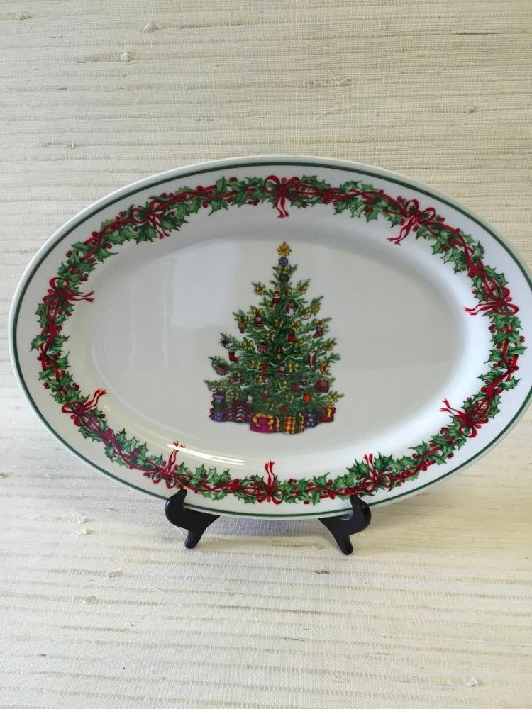 """TRADITIONS by CHRISTOPHER Radko~HOLIDAY CELEBRATIONS 14"""" Oval Serving Platter"""