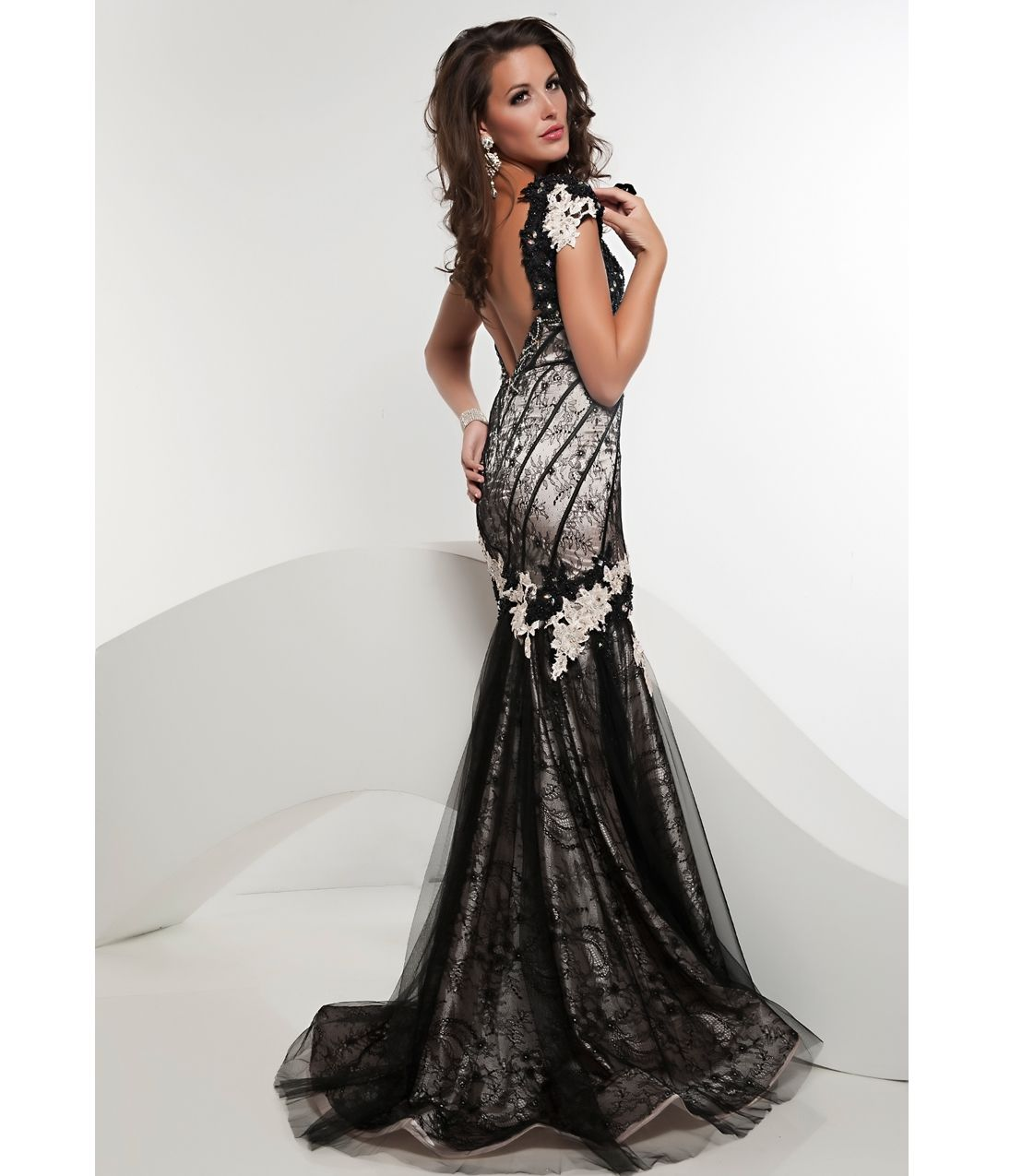Jasz couture prom black u ivory laced mermaid prom gown