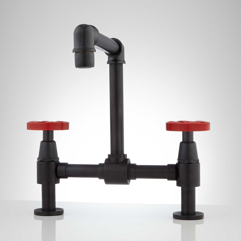 Black Bathroom Faucets Option #2: Edison Bridge Bathroom Faucet with Pop-Up Drain - Bathroom Sink  Faucets - Bathroom