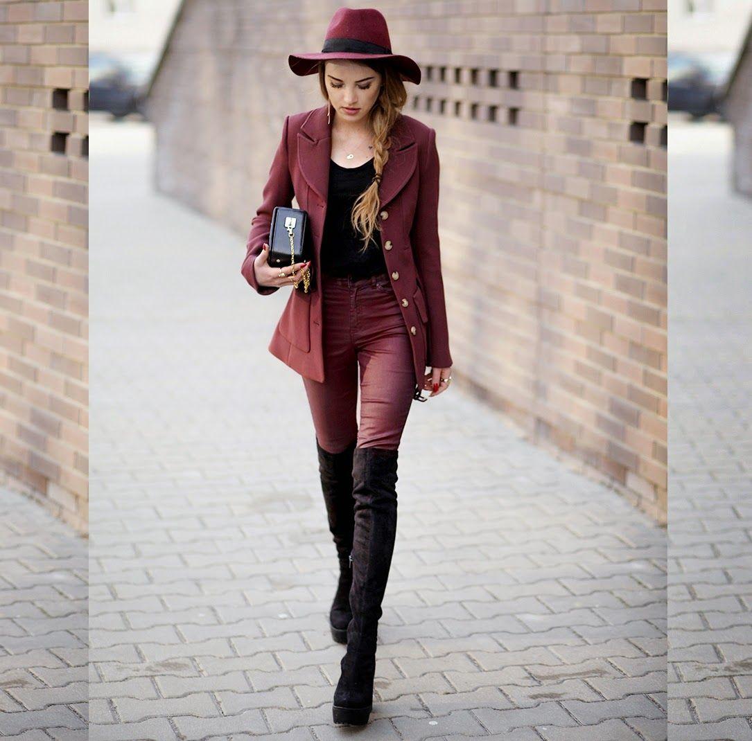 maffashion, hat, burgundy outfit, polish blogger, marsala colour, pants, sexy, skinny legs, long ombre hair,