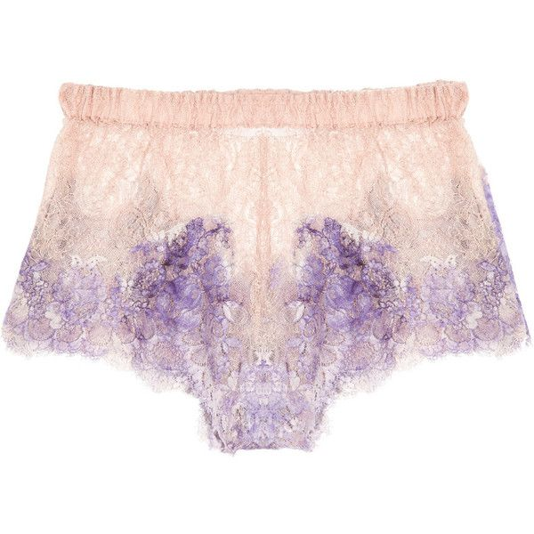 Rosamosario Pitture D'Arte hand-painted lace shorts (1.520 ARS) ❤ liked on Polyvore featuring intimates, panties, lingerie, underwear, shorts, purple, purple lingerie, purple lace lingerie, rosamosario and lace lingerie
