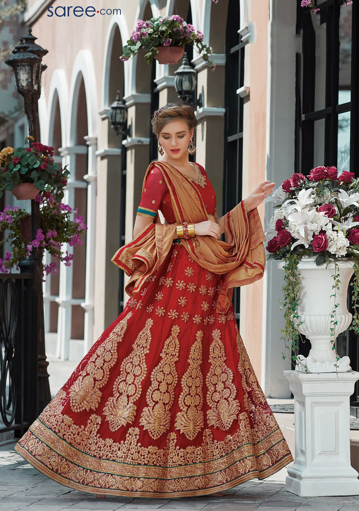 RED NET LEHENGA CHOLI WITH EMBROIDERY WORK  #navratri #Dandiya #Festival #ChaniyaCholi