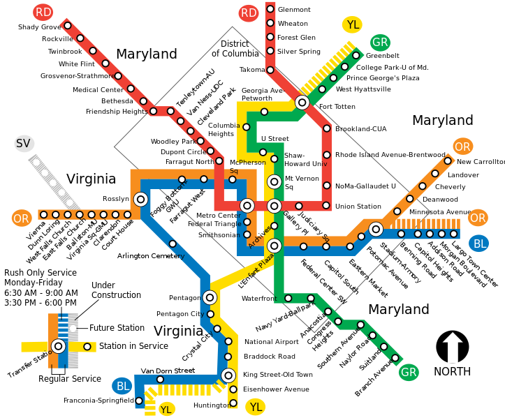 Metro Map Dc Trip Planner Map of the Washington Metro (With images) | Metro map, Dc metro