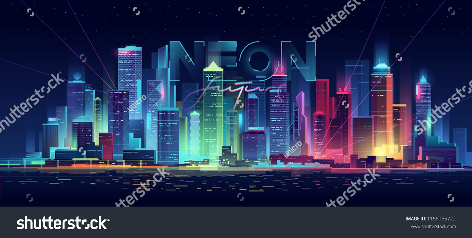 Futuristic Night City Cityscape On A Dark Background With Bright And Glowing Neon Purple And Blue Lights Cyberpunk And Night City Cityscape Dark Backgrounds