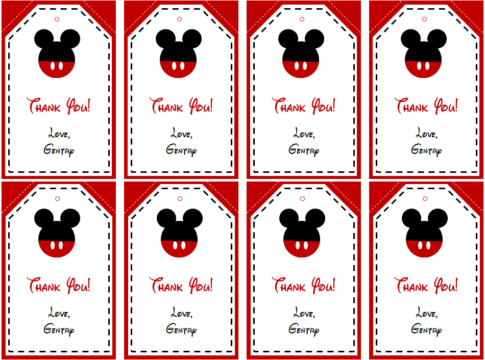 mickey mouse thank you tags printable free - Mickey Mouse Pictures Printable
