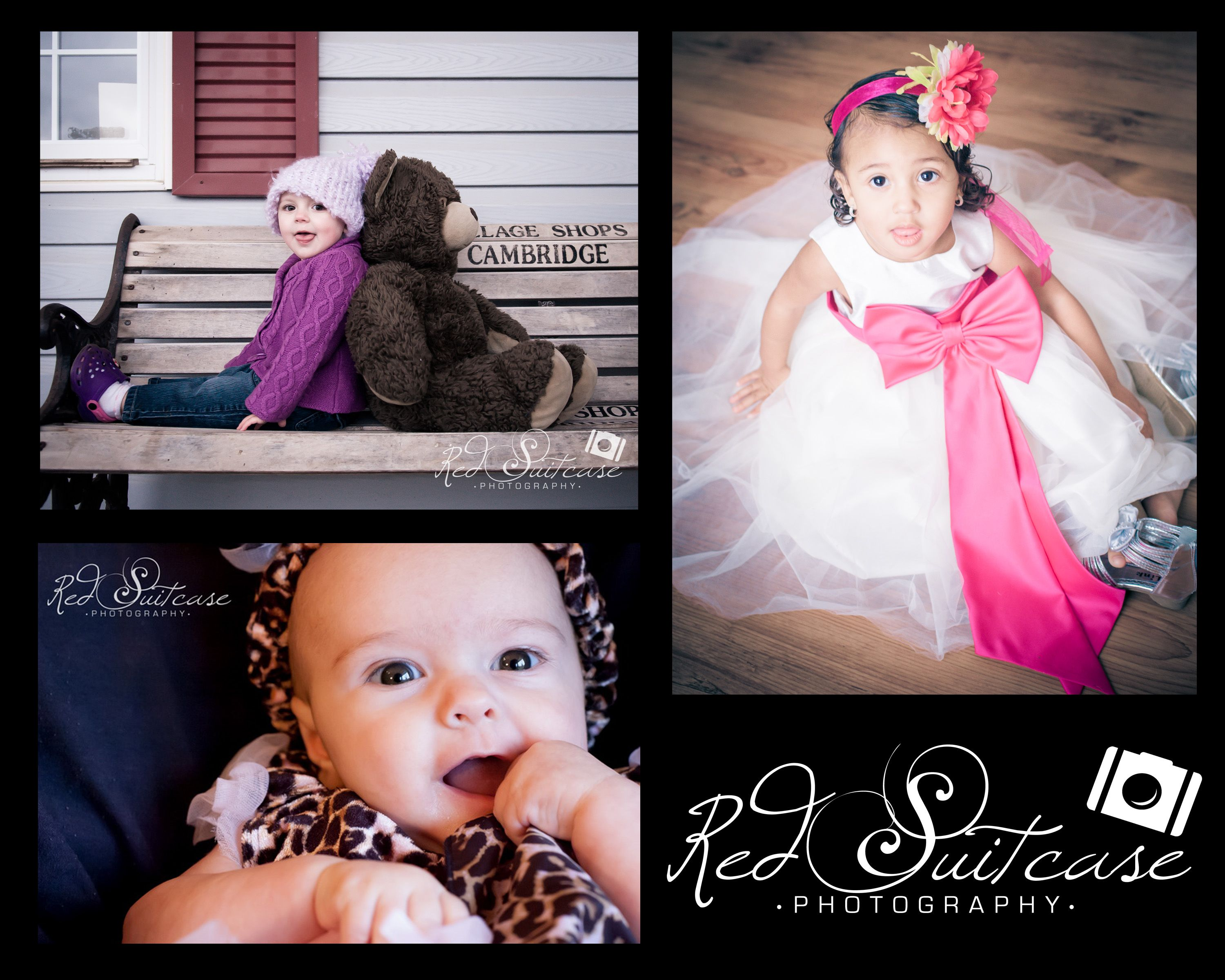 Beautiful children red suitcase photography dog paw