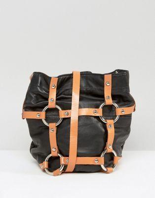 Sacred Hawk Leather Harness Cross Bucket Bag | Bag it ...