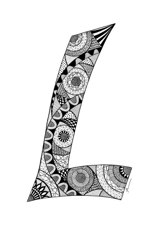 Letter L Monogram Print Zentangle Inspired MONOGRAMS