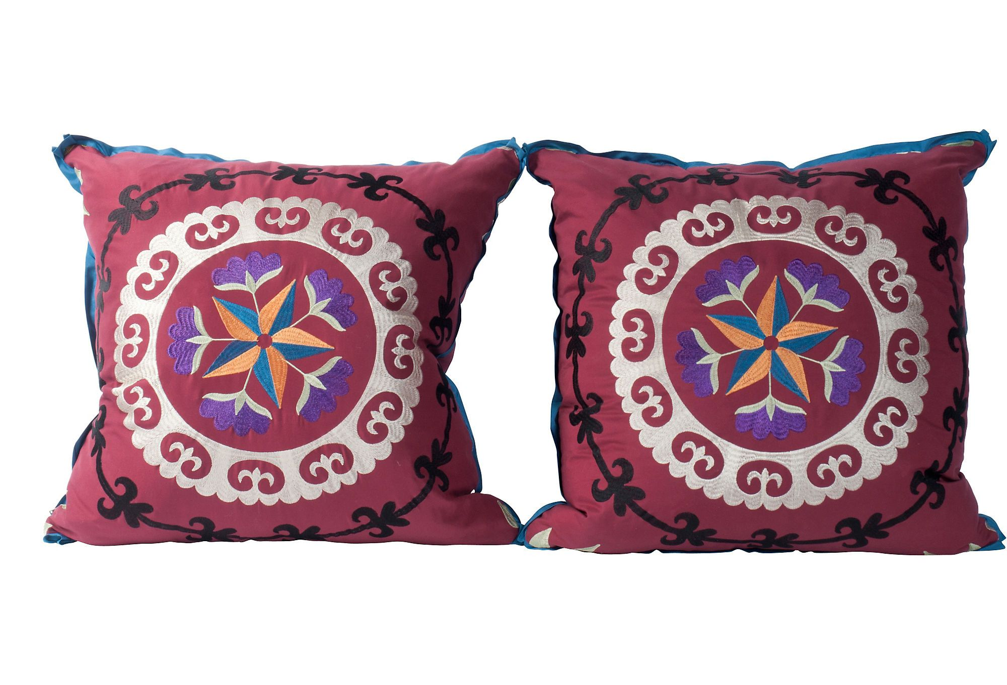 Pair of darling custom pillows covered in Pierre Frey embroidered suzani. 10/90 down/feather fill.