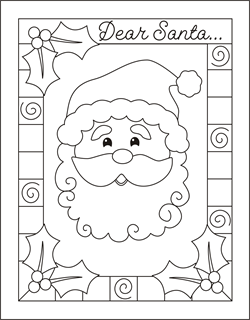 Write a letter to Santa  Christmas coloring cards for kids