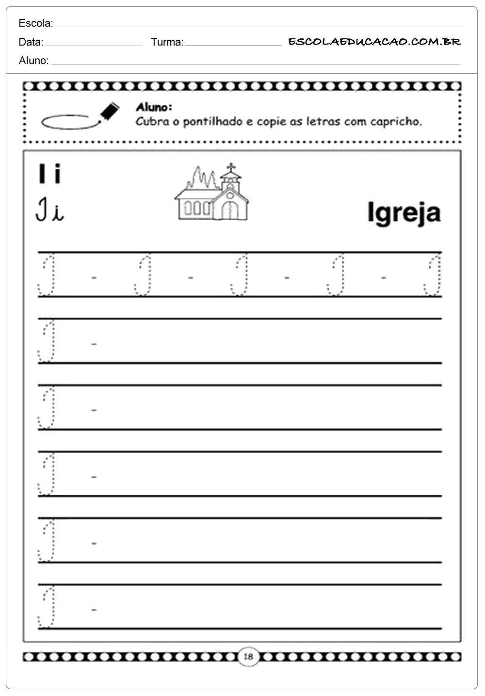 Alfabeto Cursivo Pontilhado Letra I Atividades Letra E Alfabeto