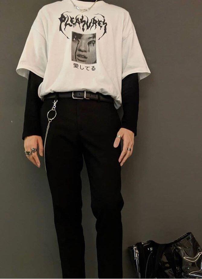 6b90d8a30c08 #coreana Grungemode, Koreanskt Mode, Herrmode, Estetiska Kläder, Retro Mode,