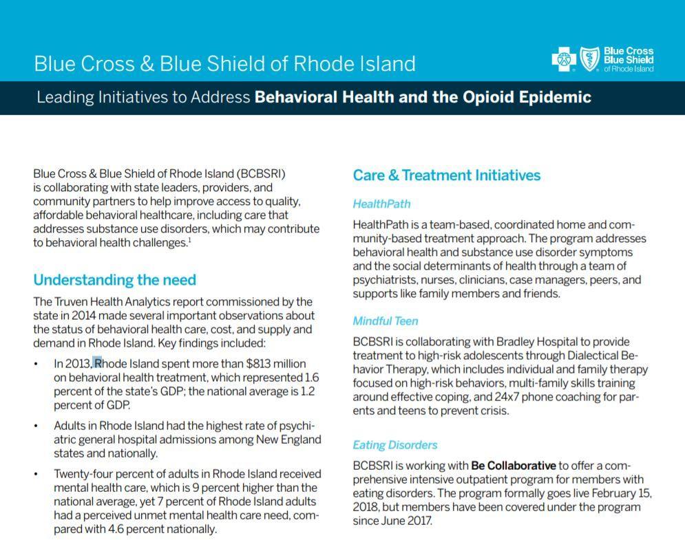 Blue Cross & Blue Shield of Rhode Island (BCBSRI) is