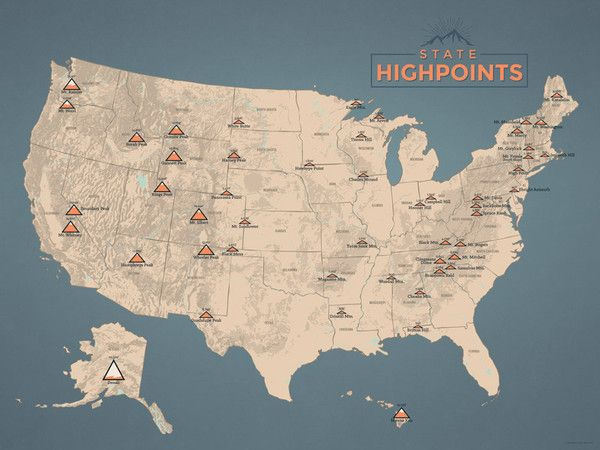 State Highpoints Map Poster - tan & slate blue