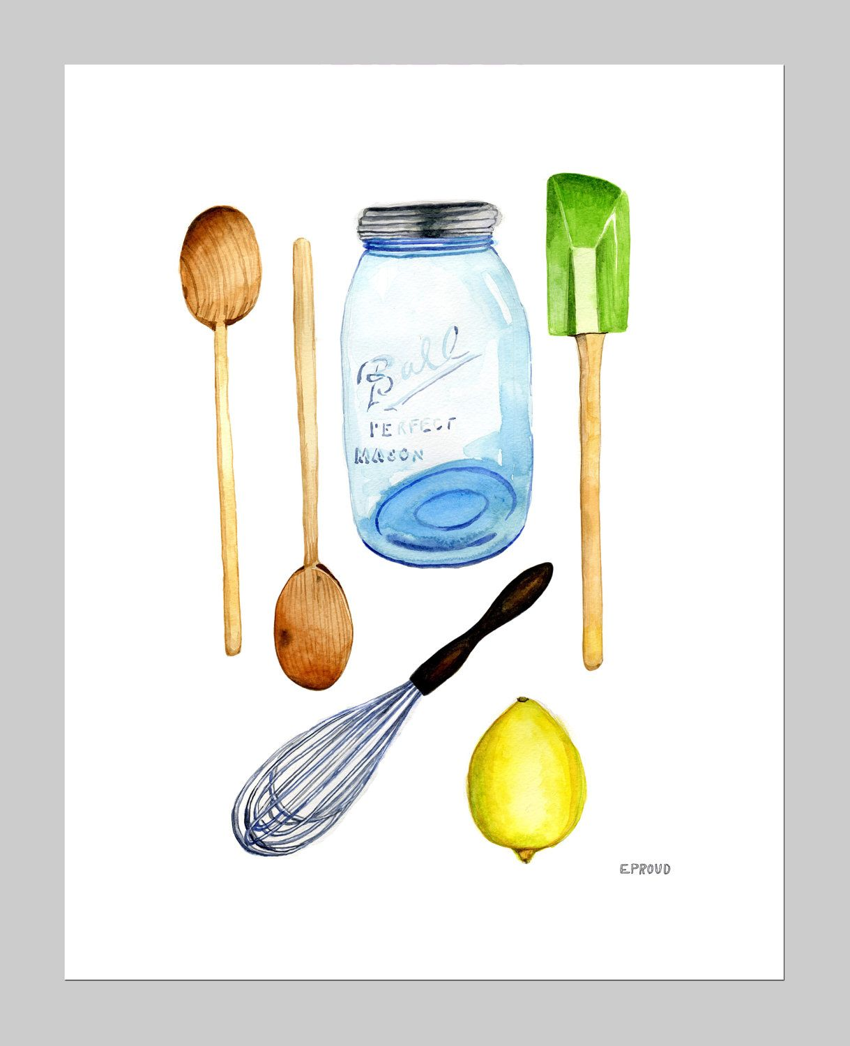 Barattoli Cucina Vintage Vintage Mason Jar And Kitchen Utensils Archival Print