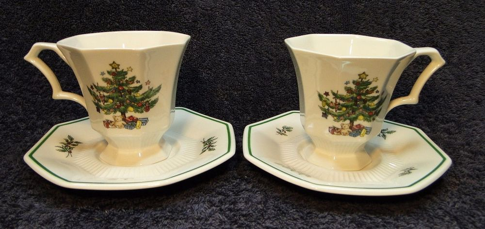 TWO Nikko Christmastime Footed Tea Cup and Saucer Sets 2 PERFECT ...