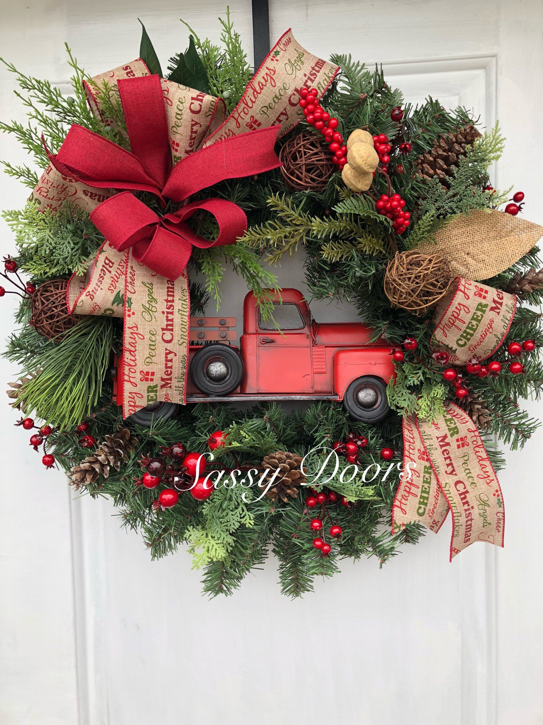 Red Truck Wreath, Rustic Christmas Wreath, Red Truck