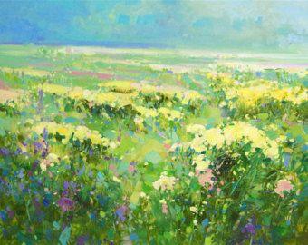 Campo di estate, paesaggio, fiori, pittura a olio originale ...