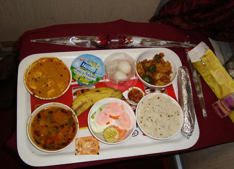 Exploring travel food ideas; this is dinner meal on an Indian train.