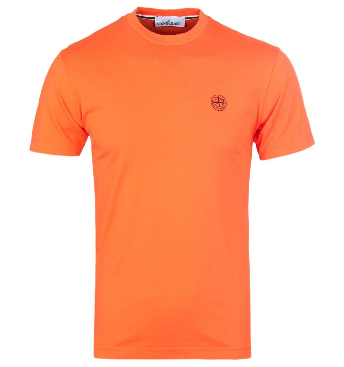 Stone island orange crew neck tshirt mens fashion casual wear