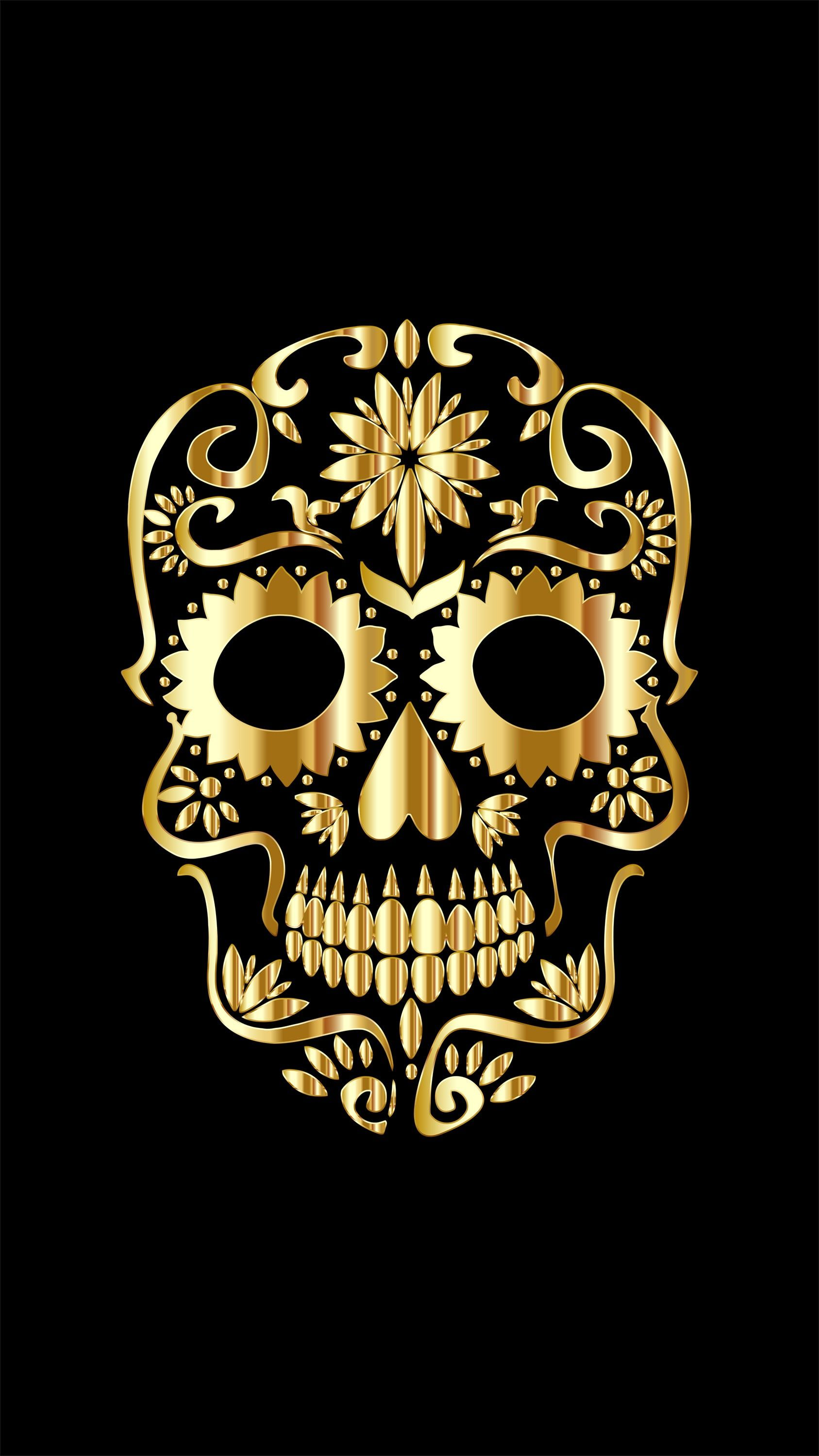 Pin By Camille On Wallpapers Gold Skull Skull Gold