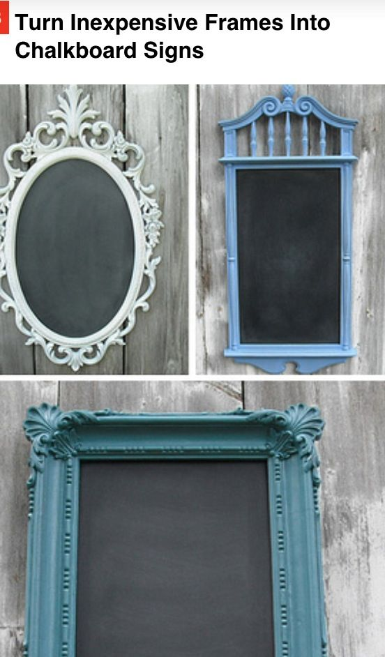 Paint frame of mirror then color mirror with chalkboard paint ...